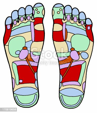 Aged Foot Massage Diagram Stock Photo More Pictures Of Accuracy