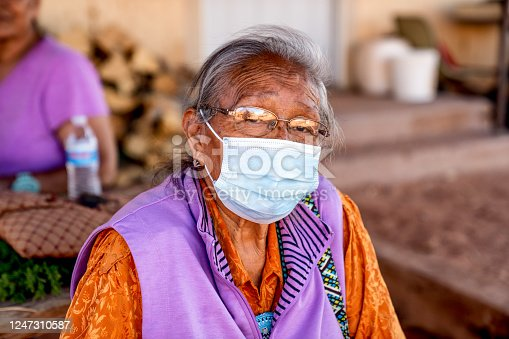 Aged Grandmother Navajo Woman Wearing a Mask to Prevent the Spread of the Corona Virus or Covi-19