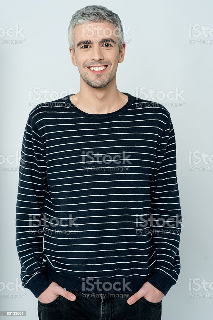 Aged happy smiling casual man stock photo