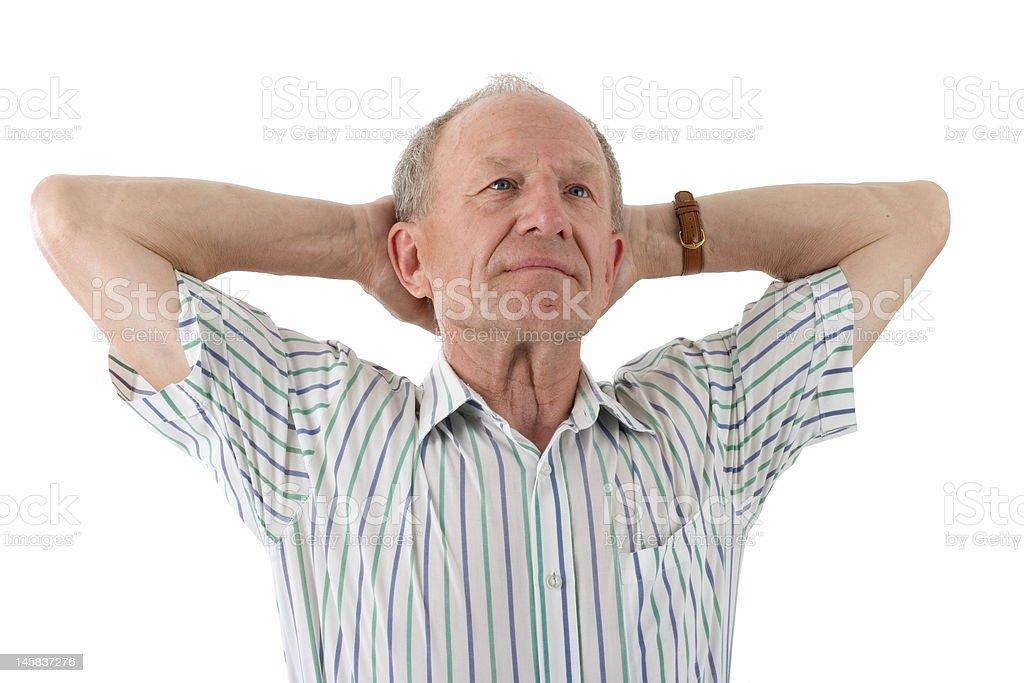 Aged man dreaming royalty-free stock photo