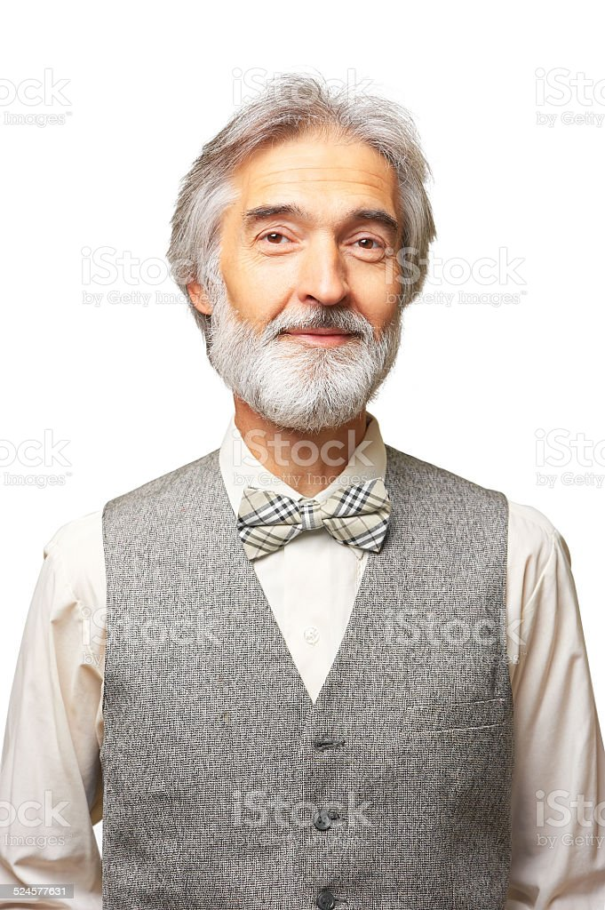 Aged man with a grey beard isolated on white background stock photo