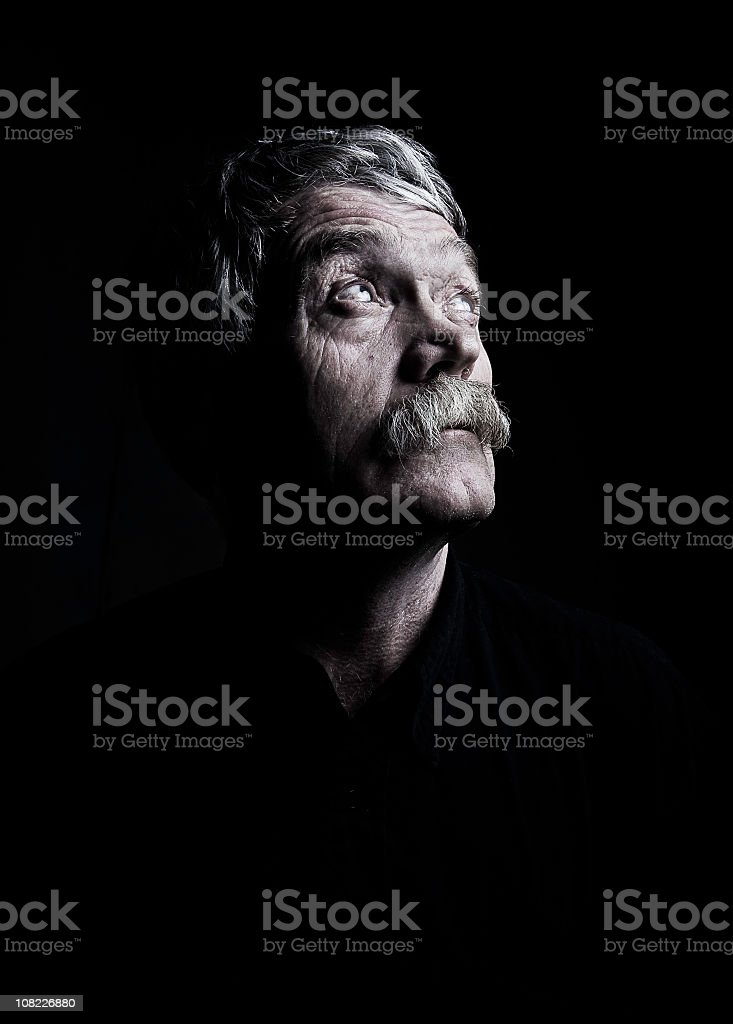 Aged Man-Low Key stock photo