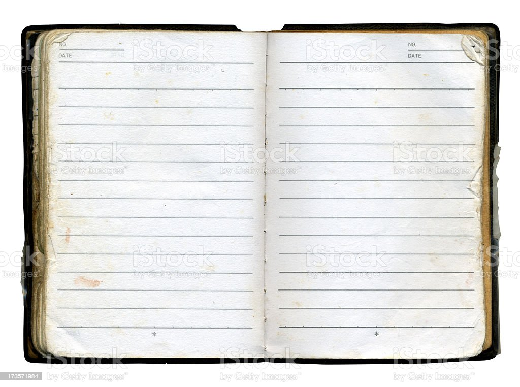 Aged Notebook stock photo