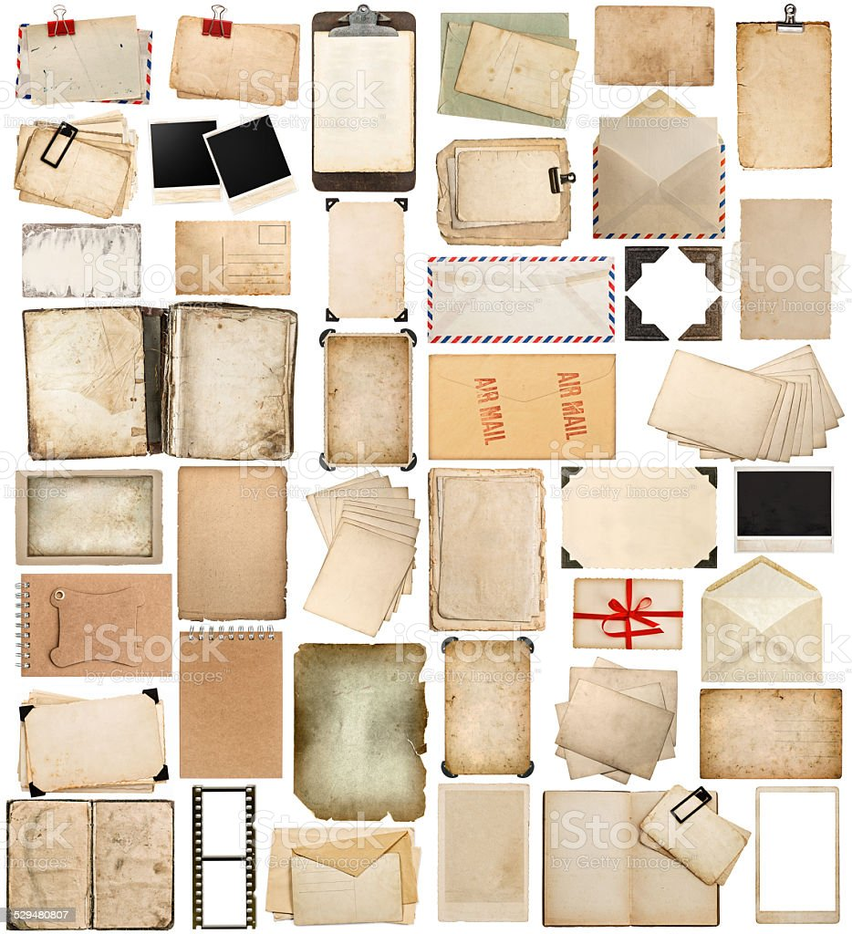 aged paper, books, pages and old postcards isolated on white stock photo