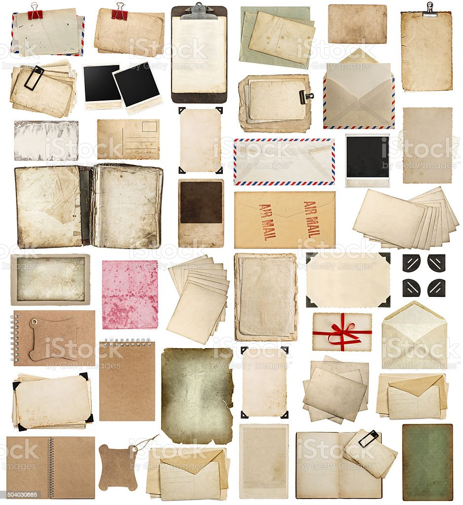 aged paper sheets, books, pages and old postcards stock photo