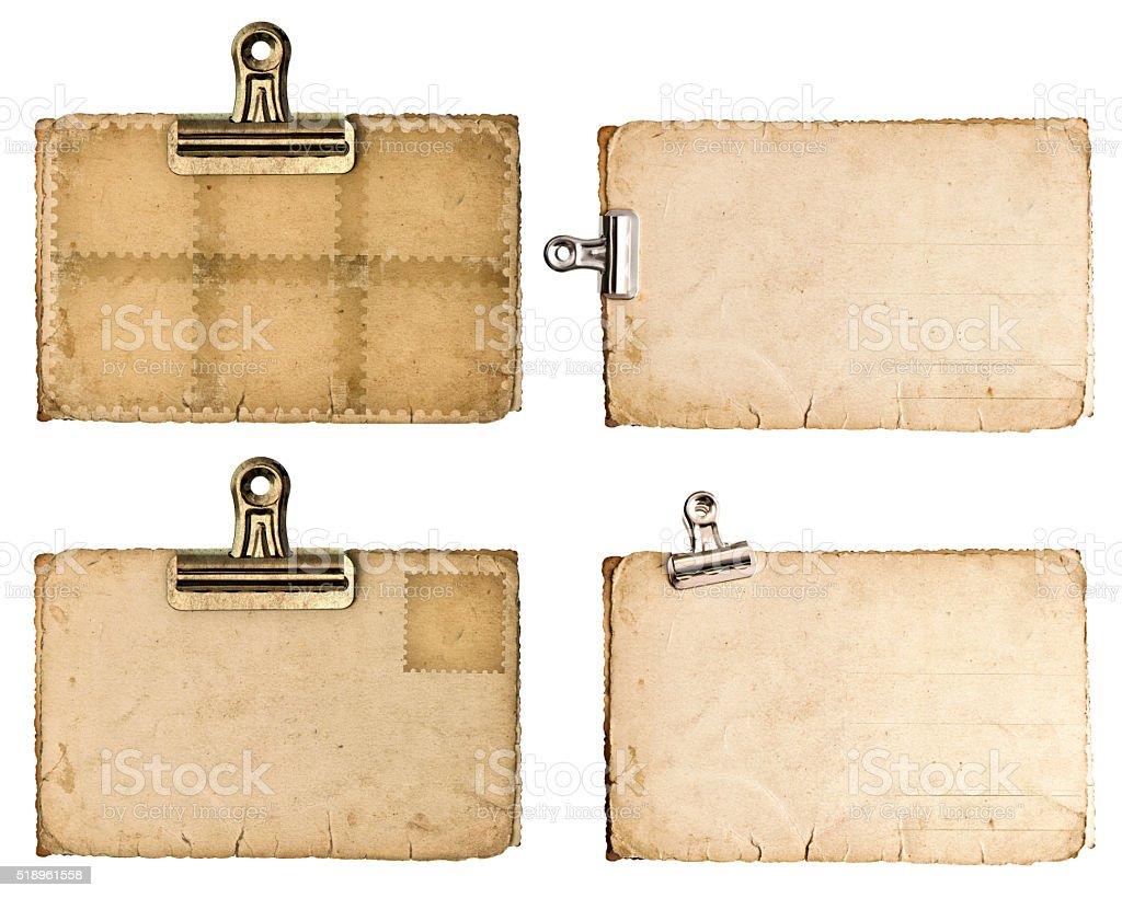 Antik Papier Laken mit Metall-clip isoliert auf Weiß - Lizenzfrei Accessoires Stock-Foto