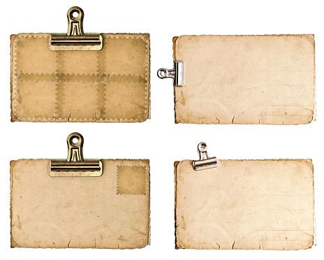 Antik Papier Laken Mit Metallclip Isoliert Auf Weiß Stockfoto und mehr Bilder von Accessoires