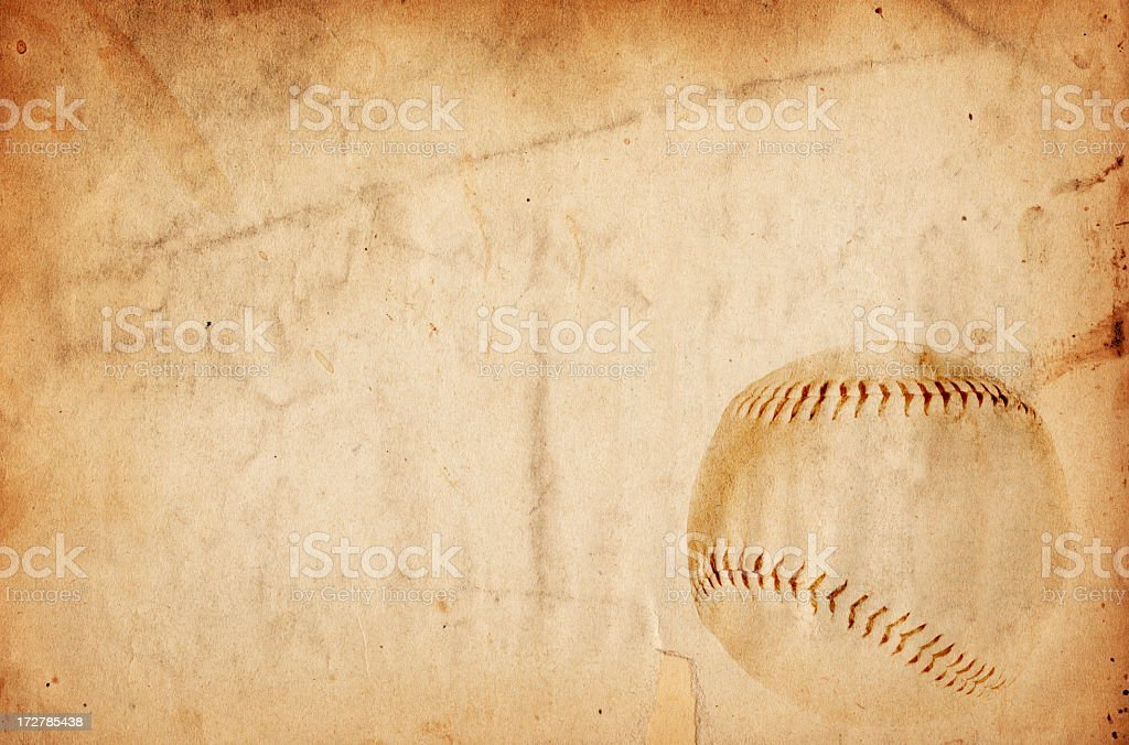 Aged paper with an image of a baseball in the corner stock photo