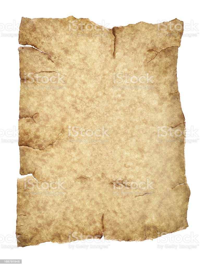 aged parchment paper with clipping path royalty-free stock photo