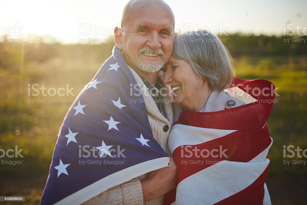 Aged patriots stock photo