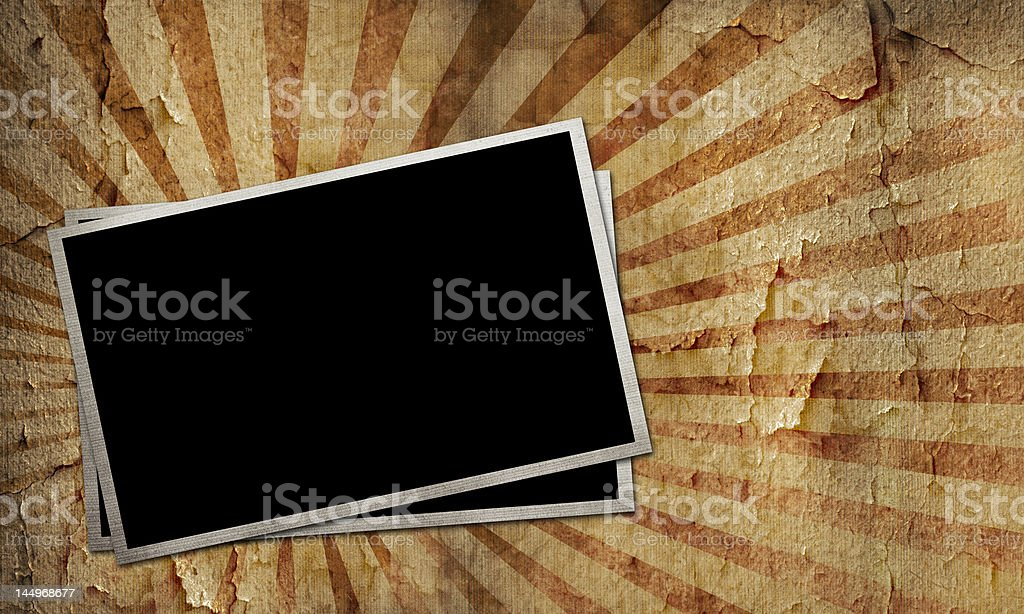 Aged photo frames on texture royalty-free stock photo