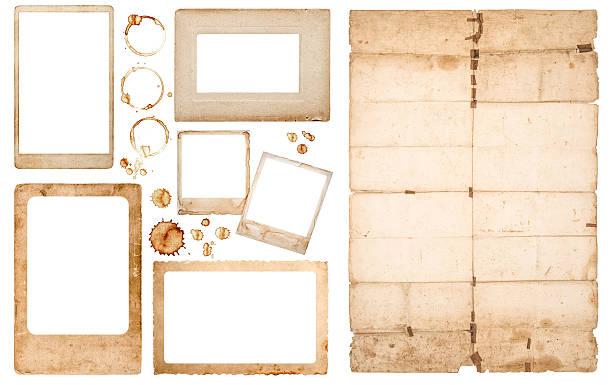 aged photo frames used paper sheet coffee stains scrapbook - klapprahmen stock-fotos und bilder