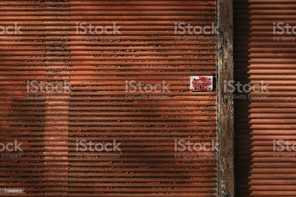 Aged Red Shutter stock photo