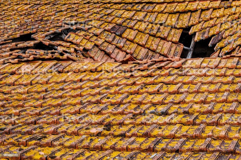 leeftijd dak gedeeltelijk vernietigd - Royalty-free Aardbeving Stockfoto