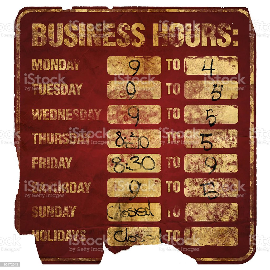 Aged Sign:  Business Hours Degraded royalty-free stock photo