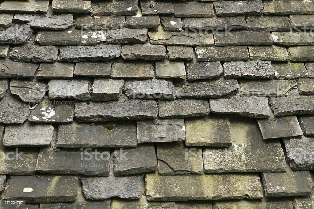 Texture piastrelle in pietra invecchiata sul tetto ingrandita