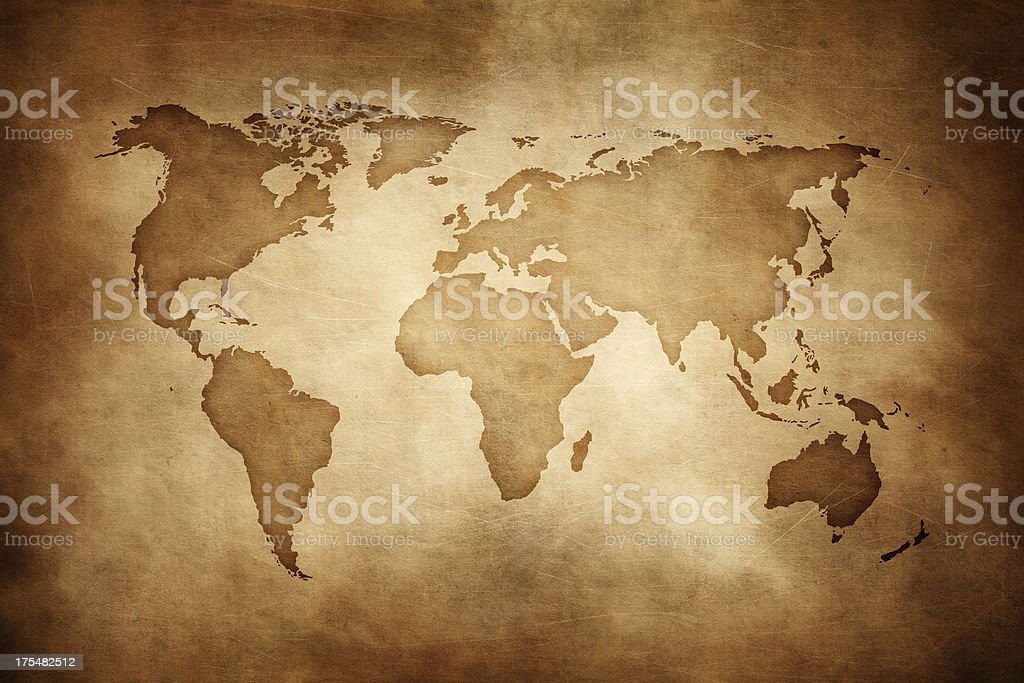 Aged style world map, paper texture background royalty-free stock photo