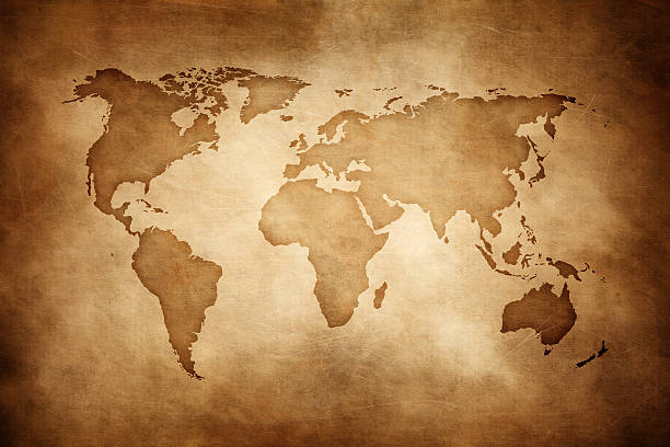 aged style world map, paper texture background - ancient stock photos and pictures