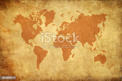 istock Aged style world map, paper texture background 904658414