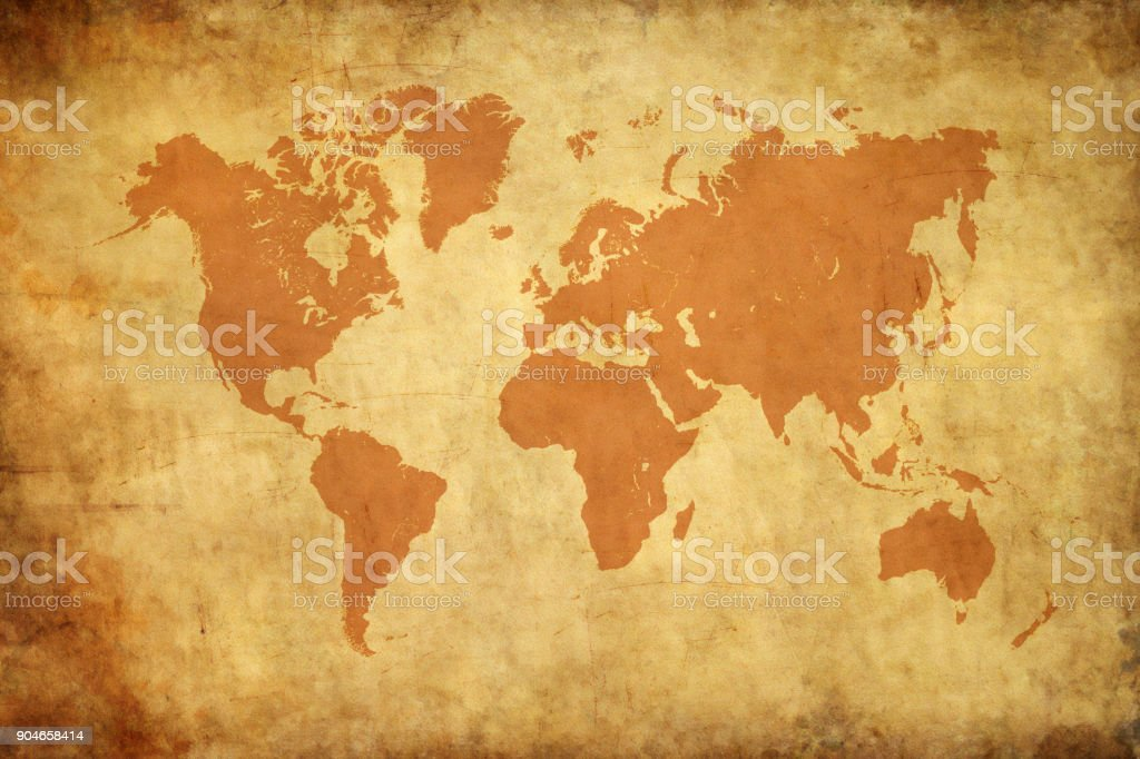 Aged style world map, paper texture background stock photo