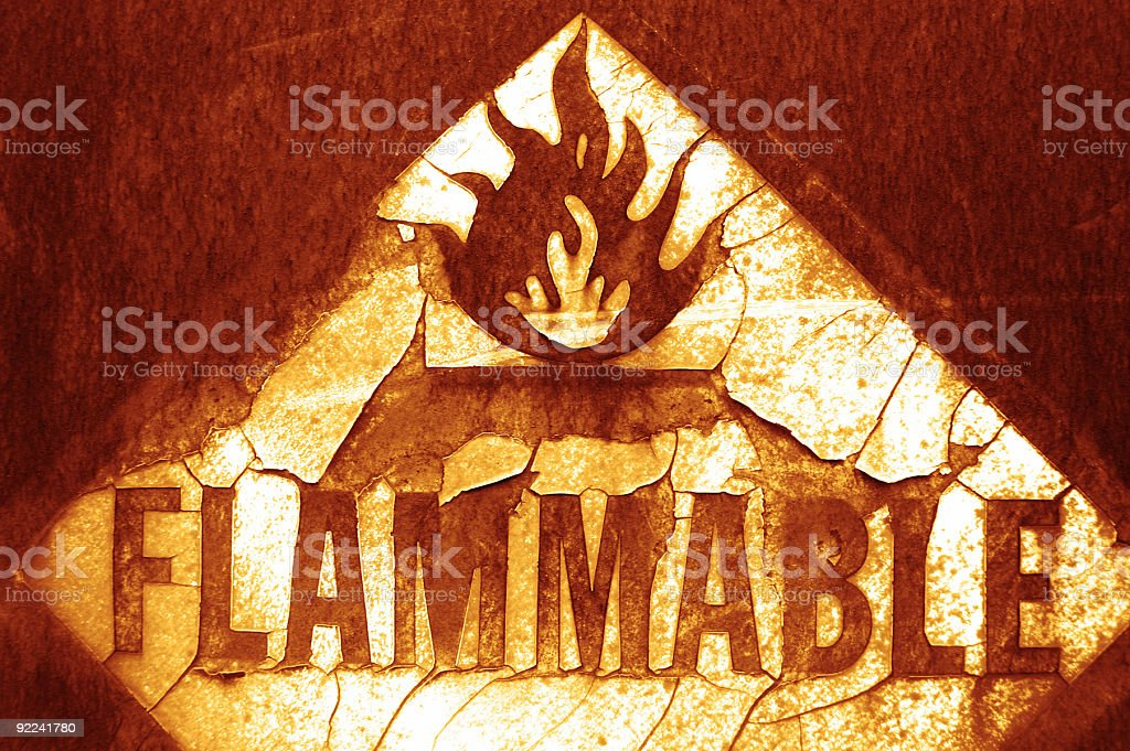 Aged Texture - Flammable 6 royalty-free stock photo