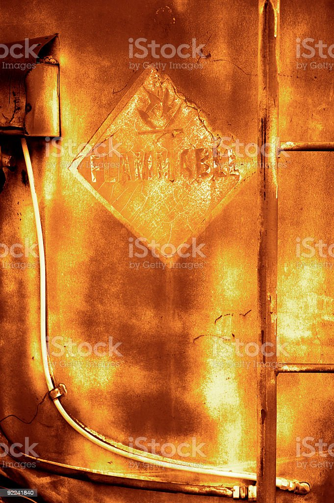 Aged Texture - Flammable 7 stock photo