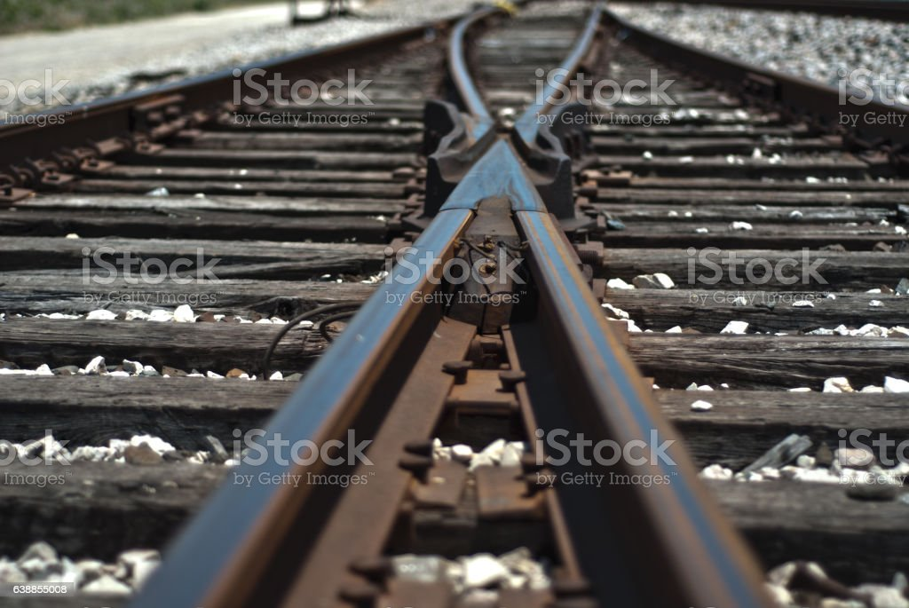 Aged Train Tracks stock photo