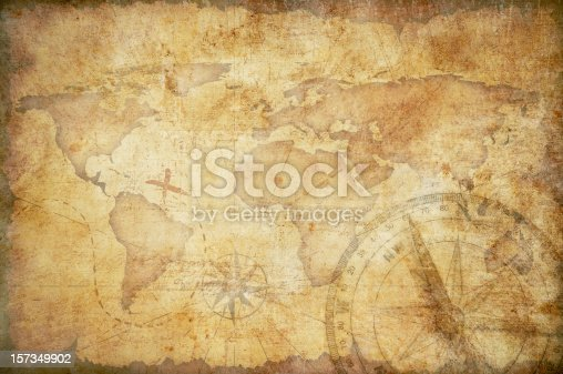 aged treasure map with compass background