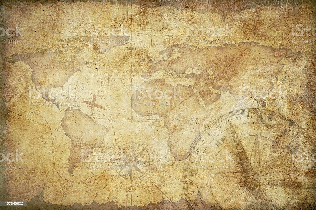 Mapa del tesoro envejecido con fondo Brújula - foto de stock