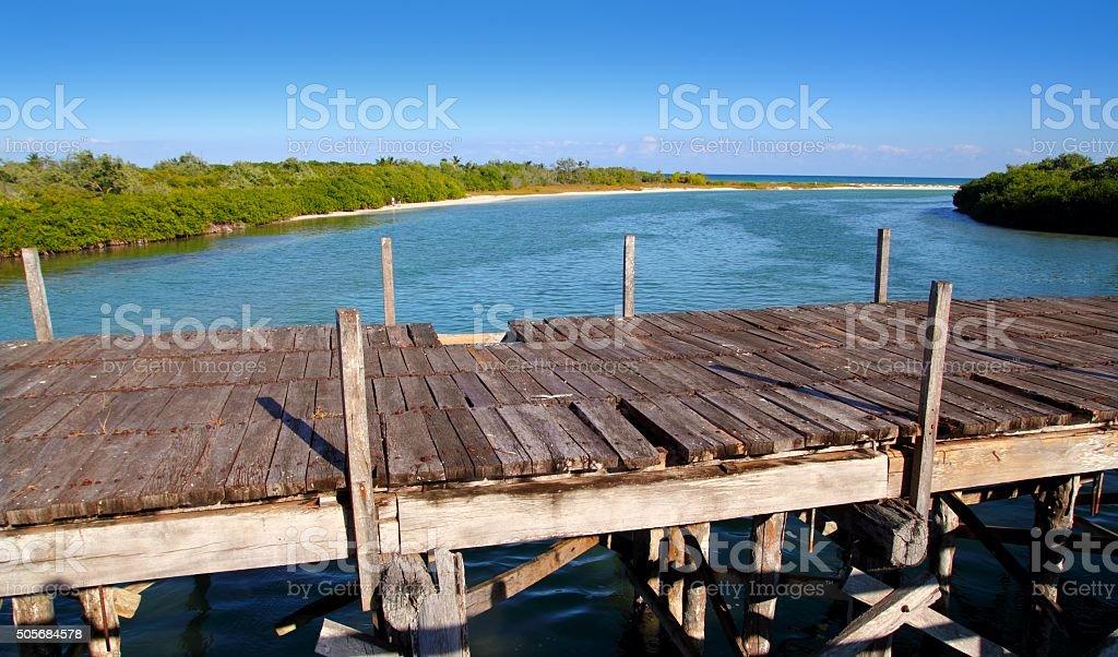 aged tropical wood bridge in Sian Kaan Tulum stock photo