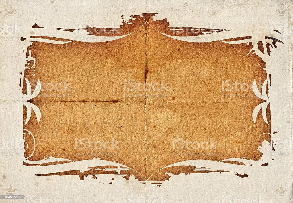 Aged, weathered paper with Amapola border stock photo