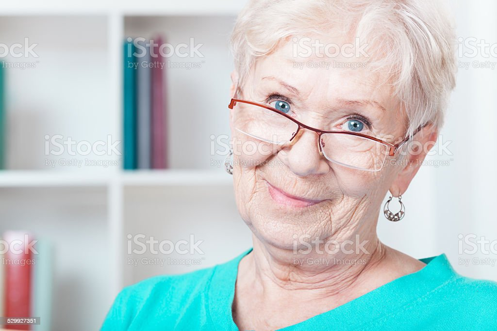 Aged woman stock photo