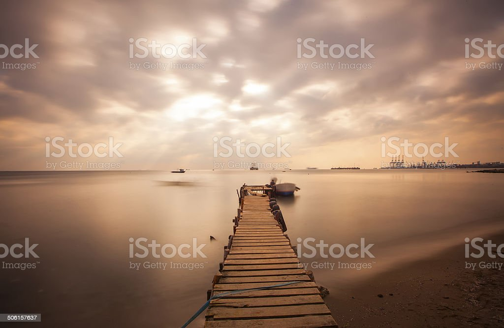 Aged wooden pier stock photo