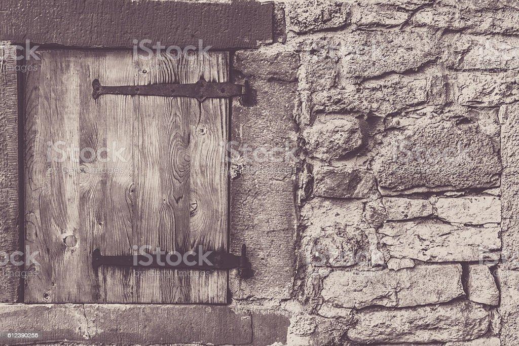 Aged wooden trap door stock photo