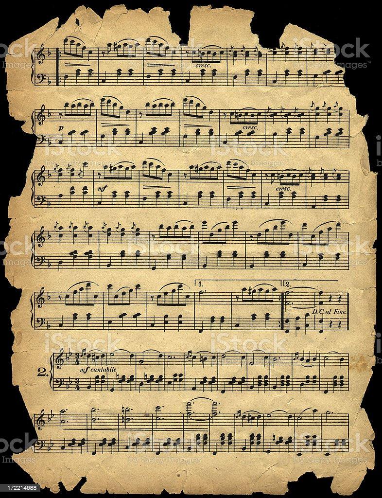 aged worn music sheet side b royalty-free stock photo
