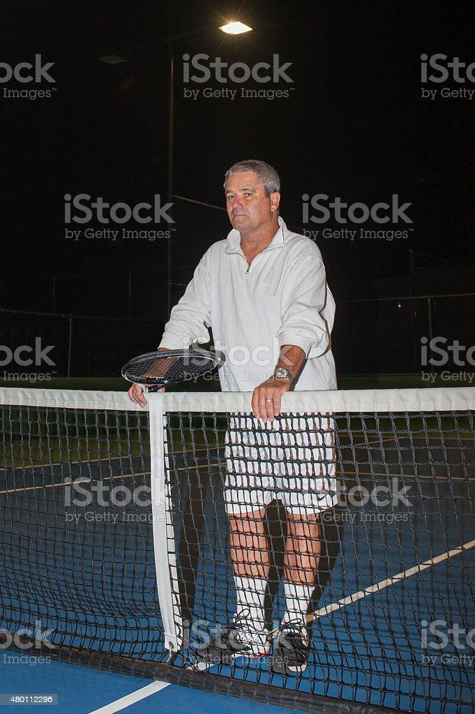 Ageless tennis player stock photo