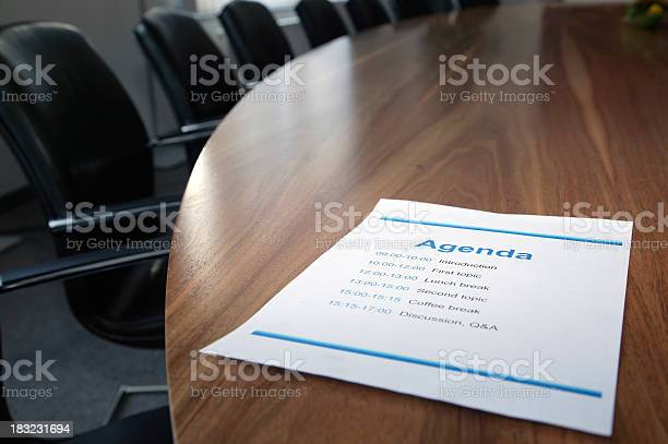 Agenda On Boardroom Table Stock Photo - Download Image Now