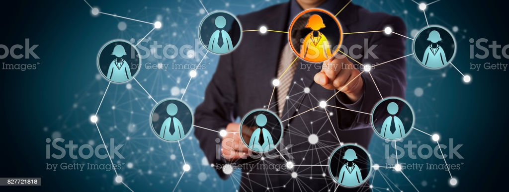 Agent Contacting Businesswoman In Social Network stock photo