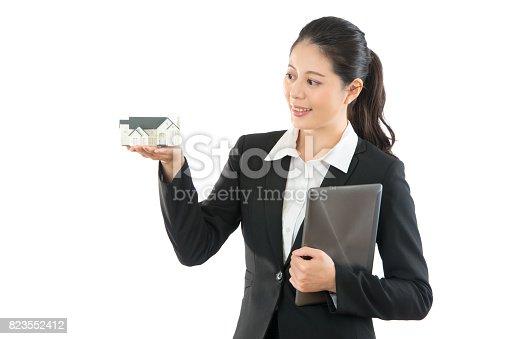 istock agent helping customer choosing house 823552412