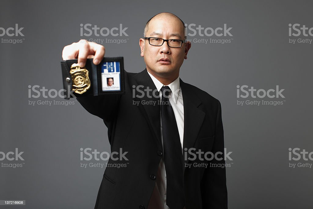 FBI agent with badge stock photo