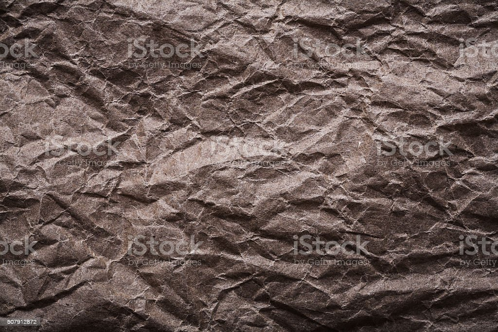 Age-old messy crumpled paper horizontal image stock photo