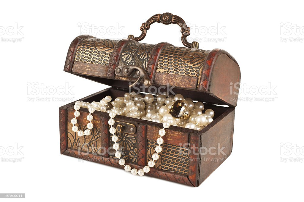 Age-old trunk with valuables stock photo