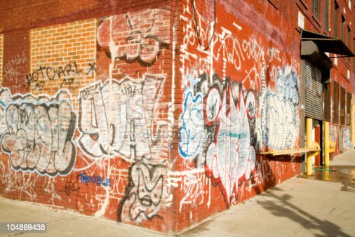 New York wearhouse with colorful graffiti.