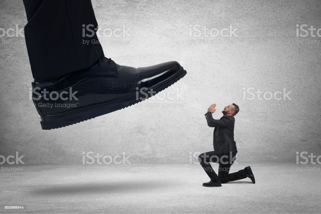 Aggressive boss with employee,mobbing concept stock photo