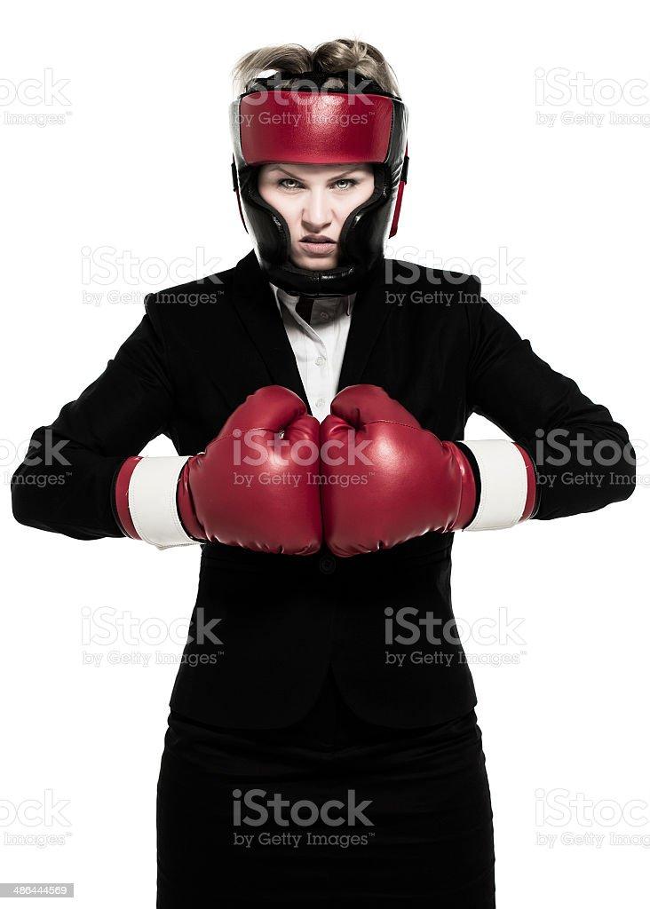 Aggressive businesswoman stock photo