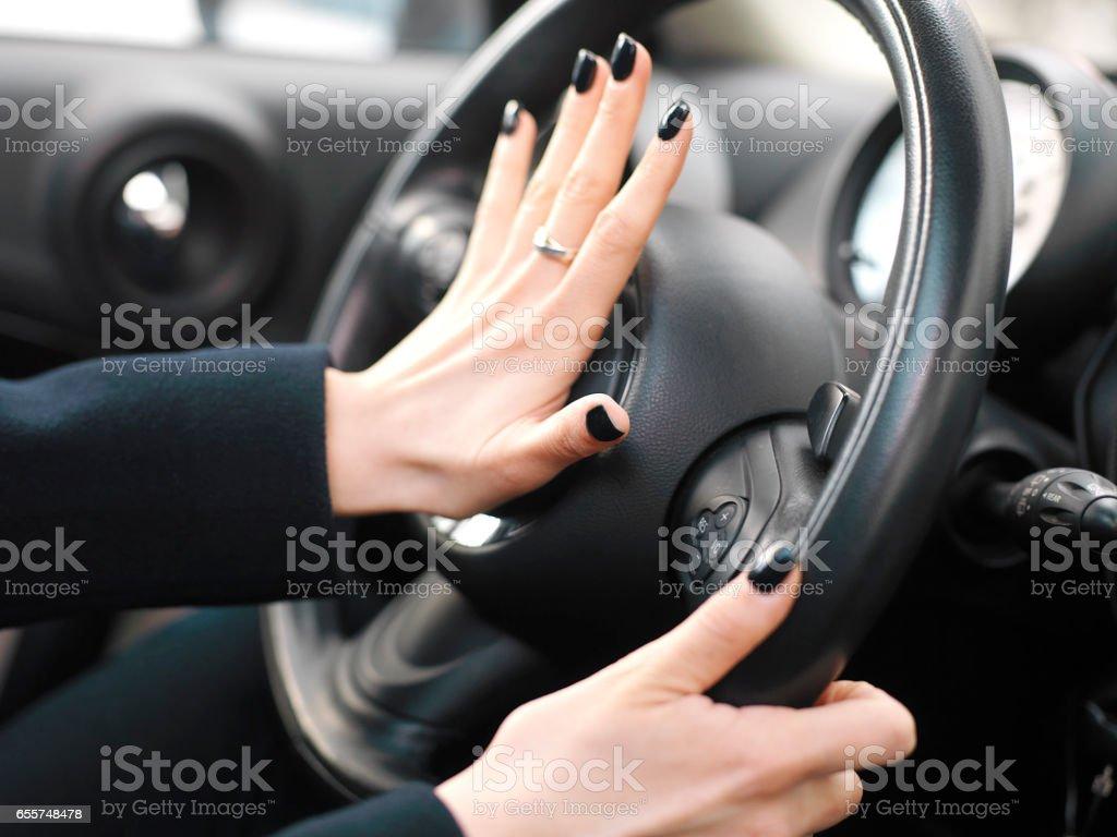 Aggressive Female Driver stock photo