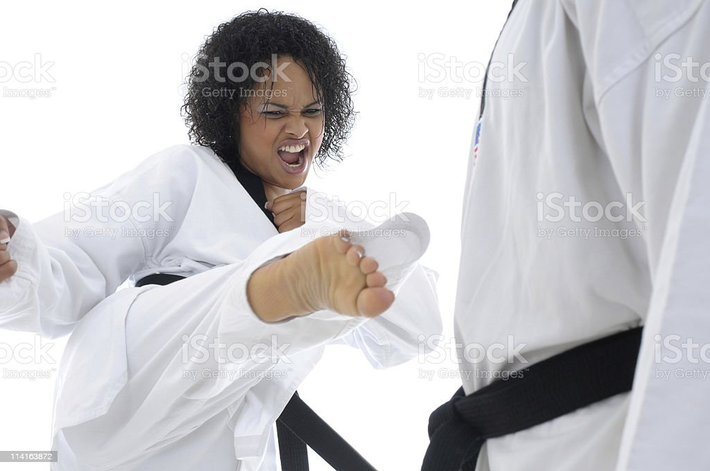 Aggressive fighting style stock photo