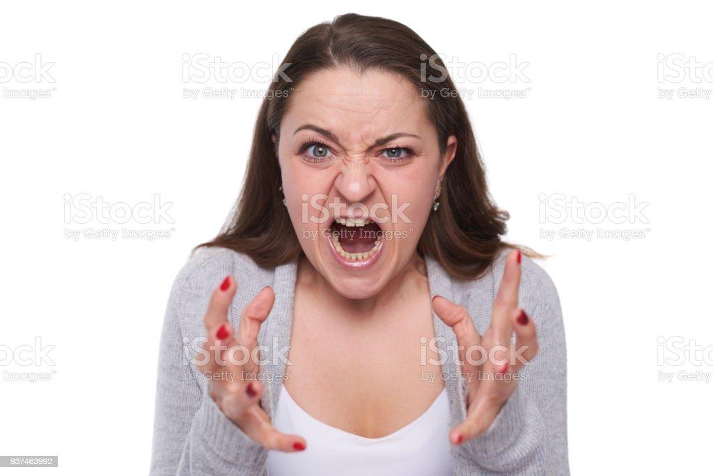 Mujer Agresiva Tratando De Hacerte Daño Foto de stock y más banco ...