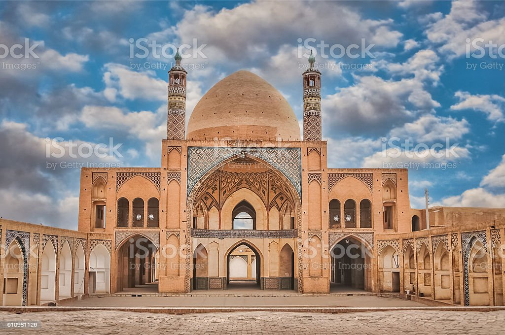 Agha Bozorgi school and mosque stock photo