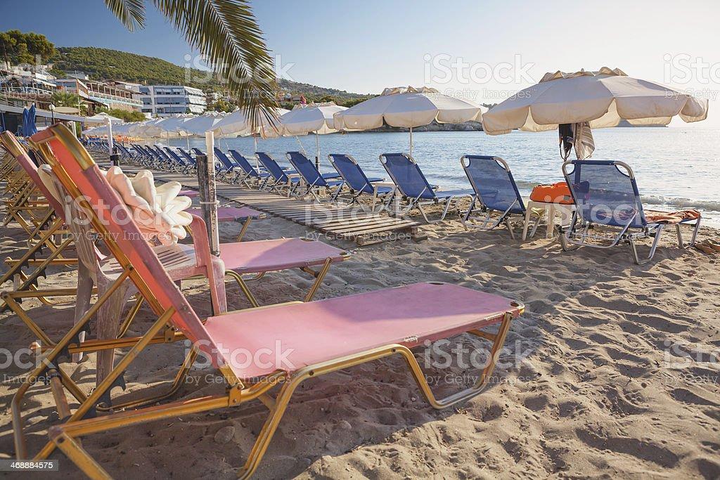 Agia Marina beach on Aegina Island, Greece stock photo